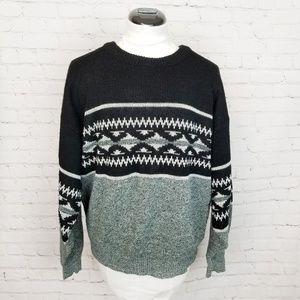 Vintage| Black Ugly Knit Grandpa Sweater